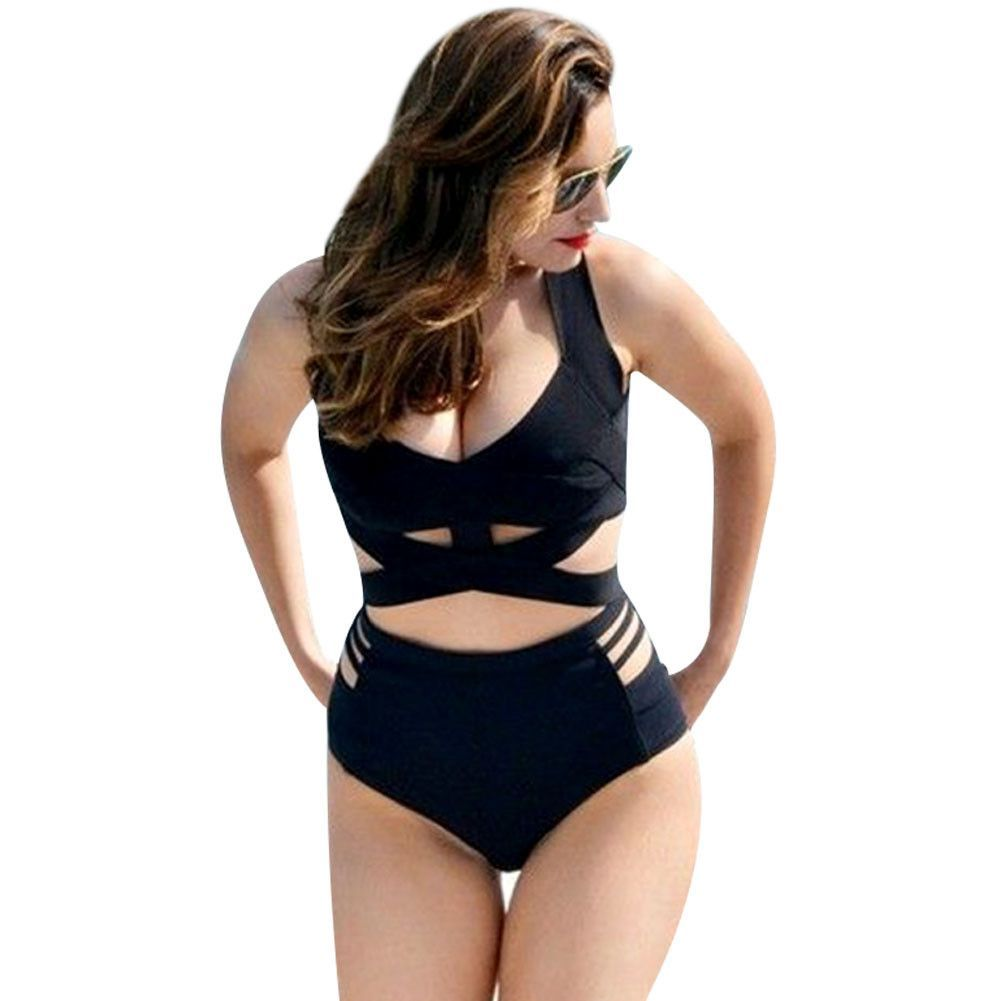0f259909e99 Women High Waist Sexy Bikini Set Plus Size Lady Push-up Padded Beach Wear  Swimsuit Caged Cut Out Bathing Suits Big Bra Monokini