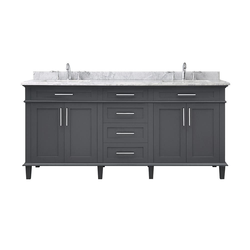 Home Decorators Collection Sonoma 72 In W X 22 In D Vanity In Dark Charcoal With Vanity Top In Carrara With White Basins Sonoma 72c The Home Depot White Sink Bathroom [ 1000 x 1000 Pixel ]