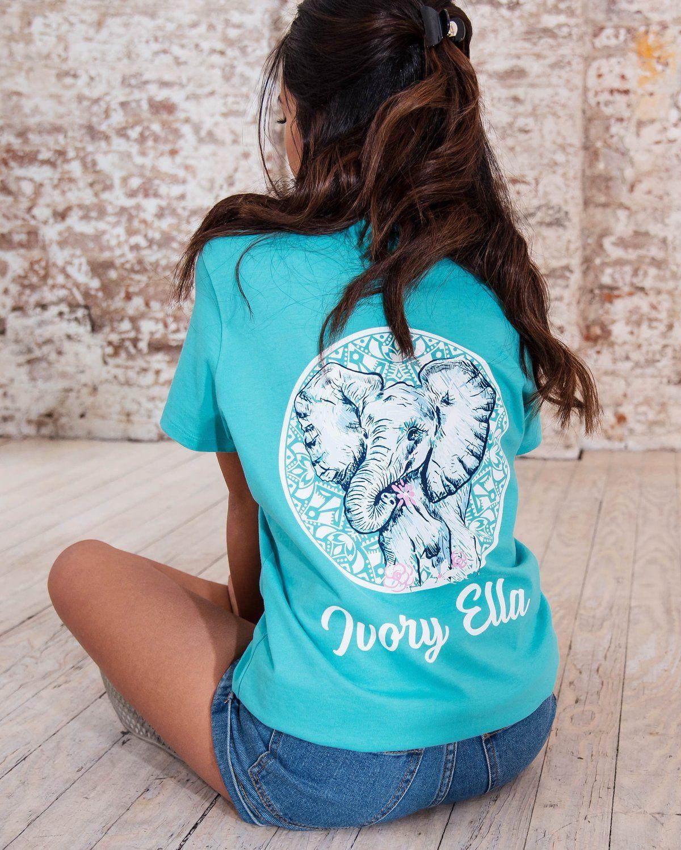 b3373598409 Ella Fit Eton Blue Sketchy Elephant Tee - Ivory Ella