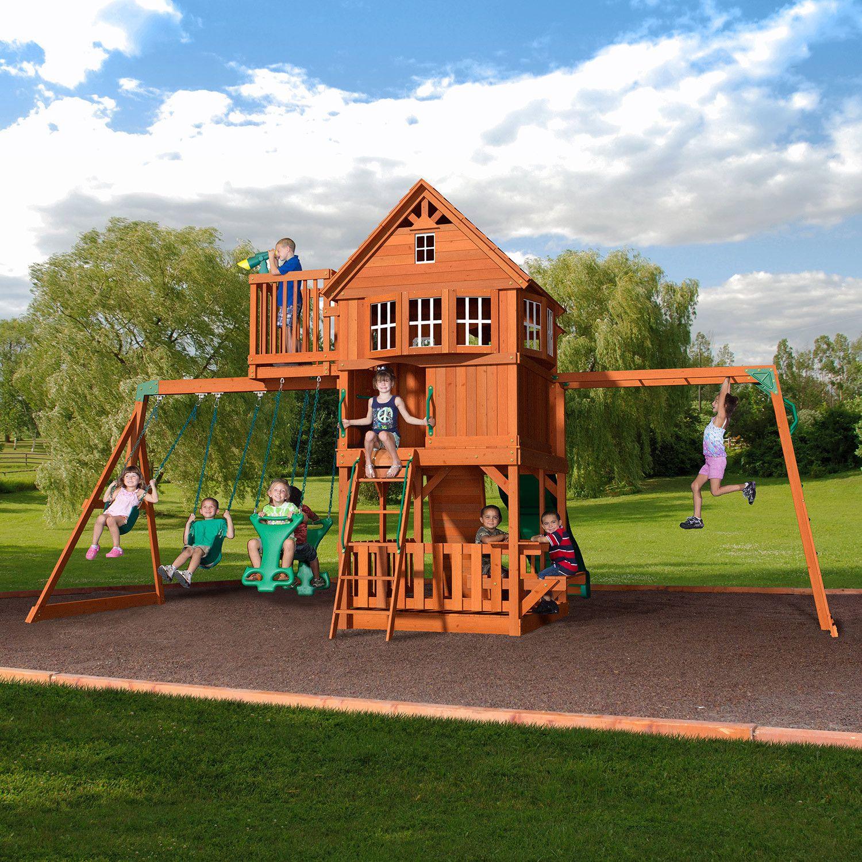 Backyard Swings: Skyfort II Wooden Swing Set In 2019