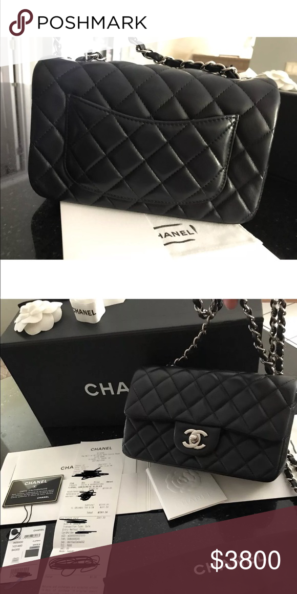 ee36db5760c8 Chanel classic flap mini rectangle lambskin NEW Chanel mini Classic Flap in lambskin  black with silver hardware NO TRADES SORRY It comes with everything as ...