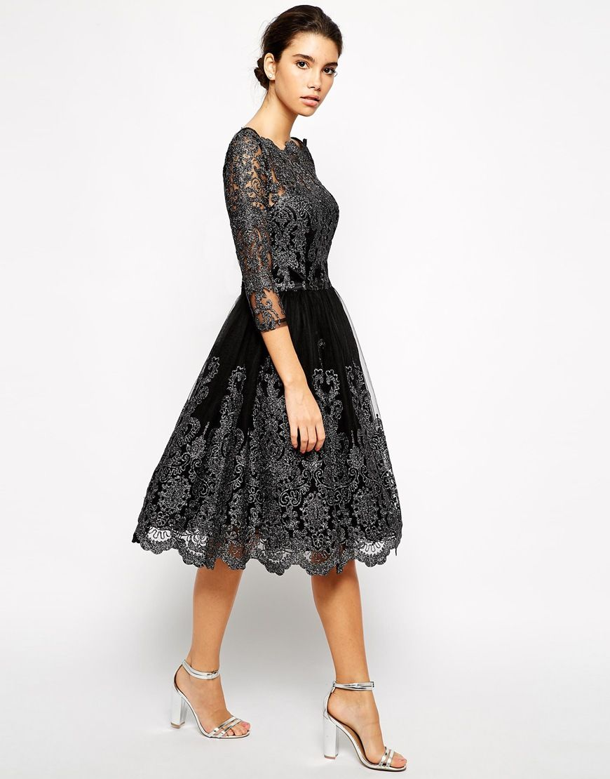 chi chi london premium metallic lace midi prom dress with