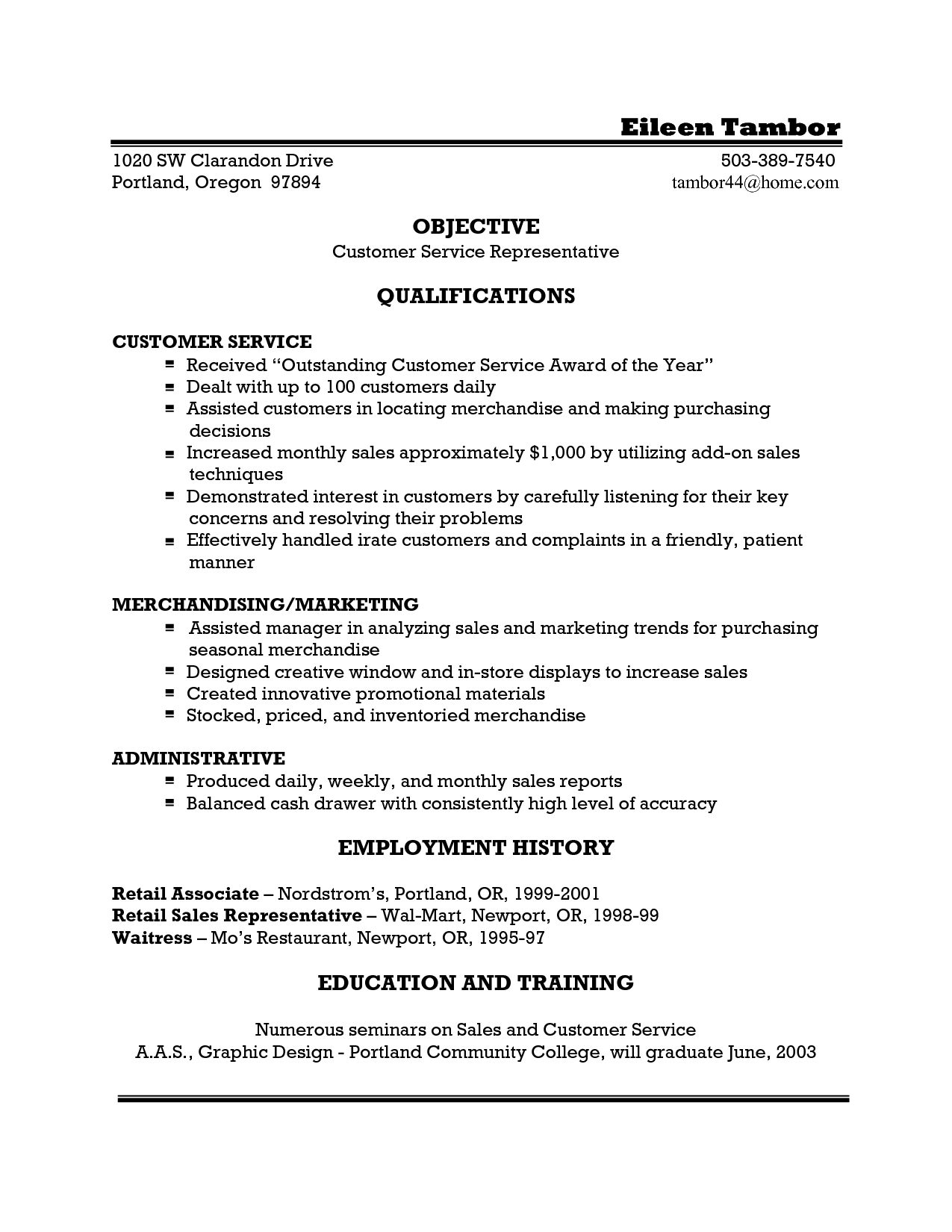 Customer Service Resume Objective Examples Waitress Resume Example Template For Doc Server Samples