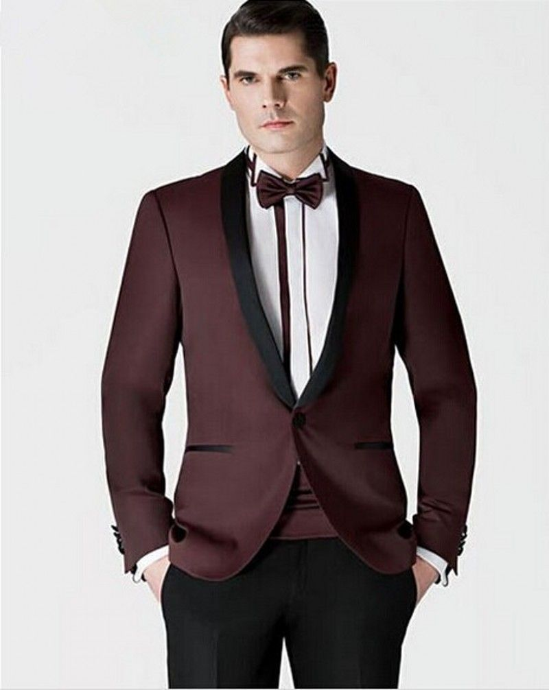 1350d0d370 Click to Buy    Custom Made Groomsmen Shawl Black Lapel Groom Tuxedos New