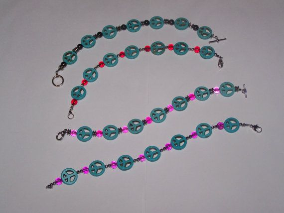 Turquoise Peace Sign Bracelet by SweetJDesigns on Etsy, $8.50