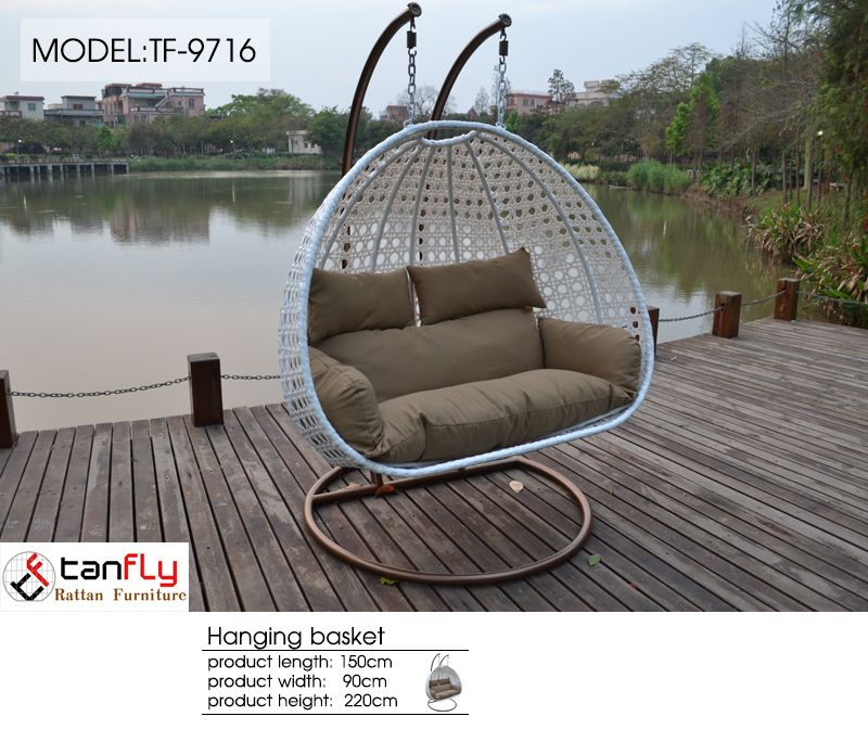 Garden Furniture Hanging Chair Double Hanging Swing Chair With Two Seats.