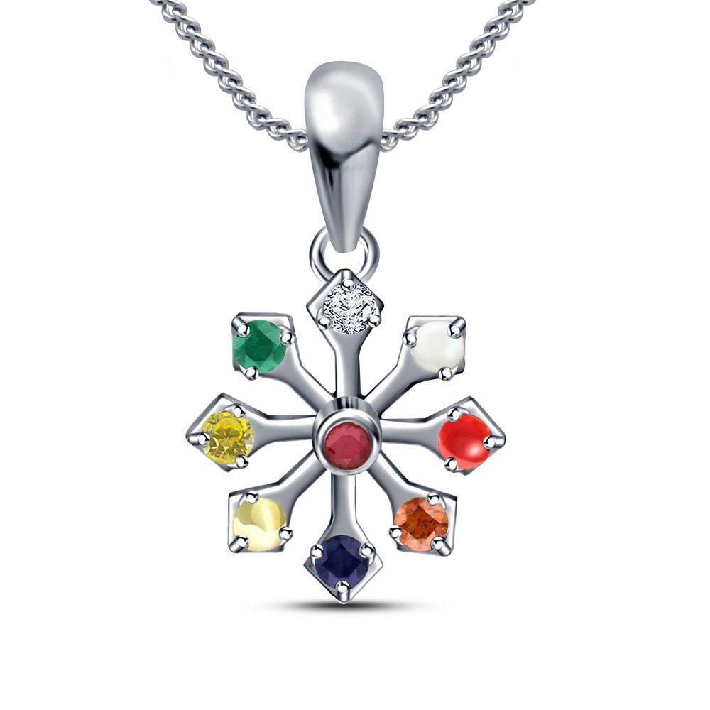 Stone multicolor kt white gp in silver navratna fashion