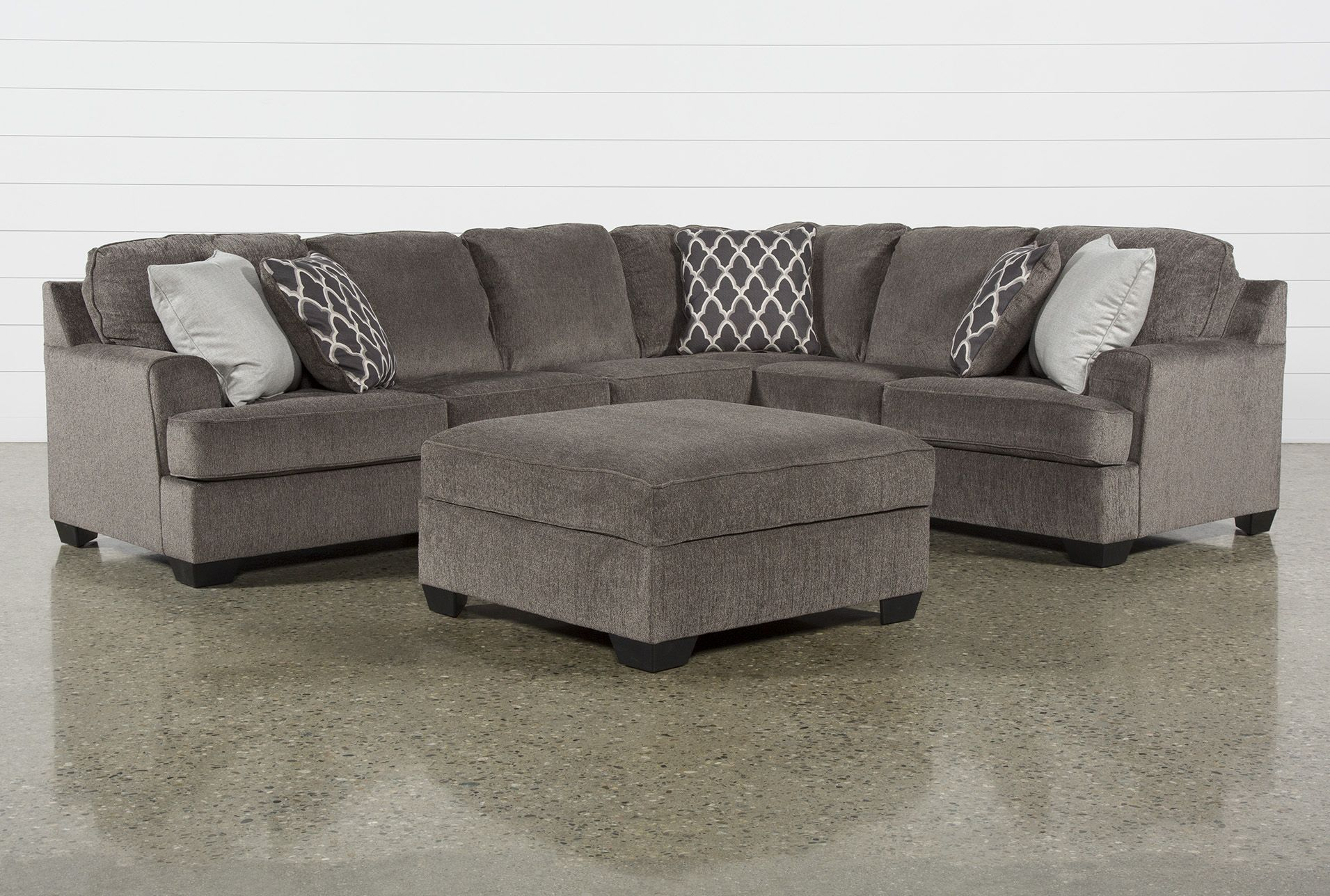Devonwood 3 Piece Sectional With Left Arm Facing Loveseat And Ottoman In 2020 3 Piece Sectional Sofa 2 Piece Sectional Sofa Grey Sectional Couch #pasadena #gray #living #room #sectional