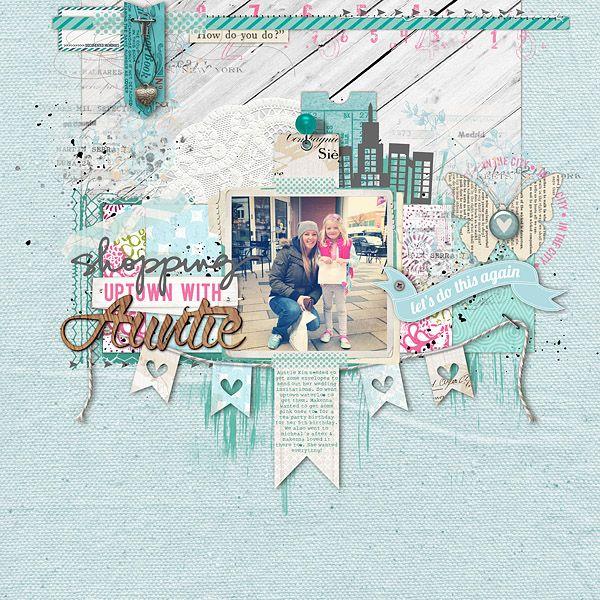 love the #blue in this #scrapbook page by Kayleigh Wiles at DesignerDigitals.com #shopDesignerDigitals
