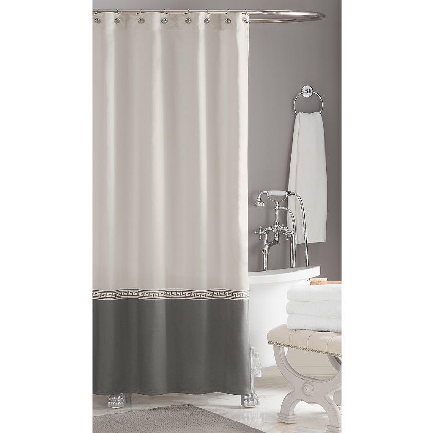 Wamsutta Greek Key Hotel Shower Curtain Bedbathandbeyond Com 100 Cotton Machine Washable Gray Shower