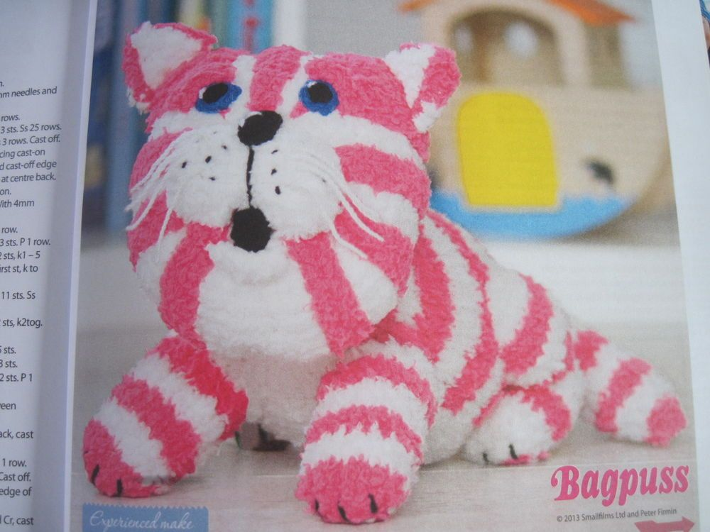 Toy Knitting pattern for Bagpuss the saggy old cloth cat soft toy