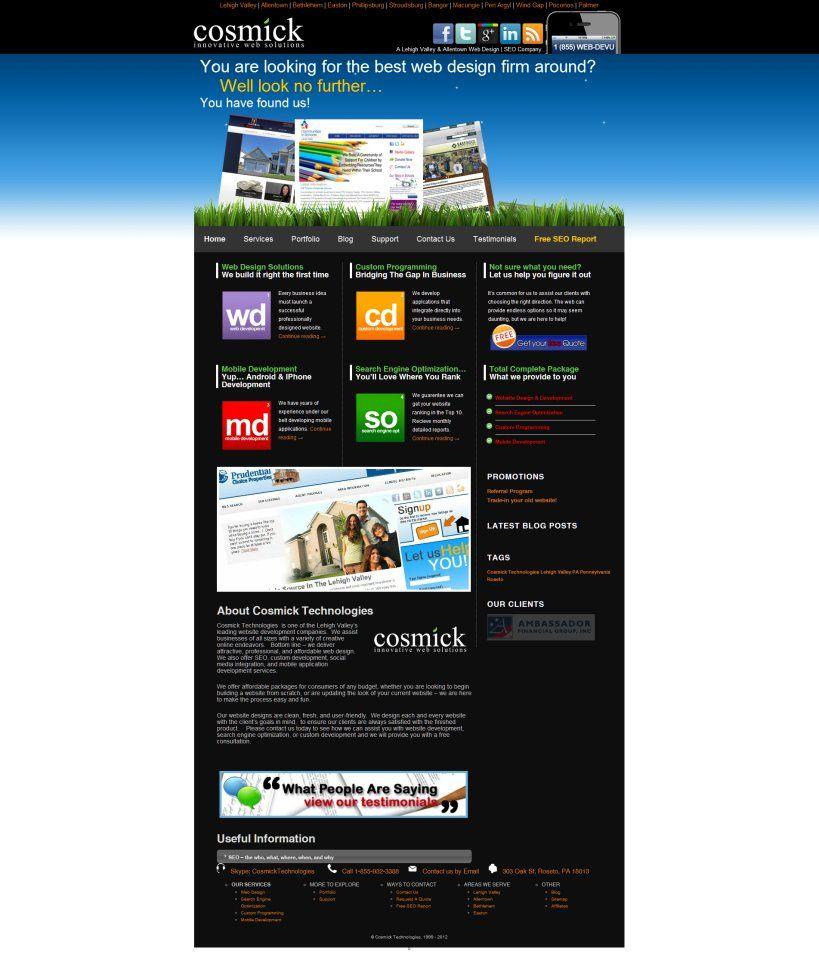Cosmick Technologies Lehigh Valley Web Design Firm Web Portfolio Best Web Design