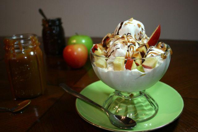 Taffy Apple Sundaes. Homemade caramel sauce (and chocolate for extra decadence!)