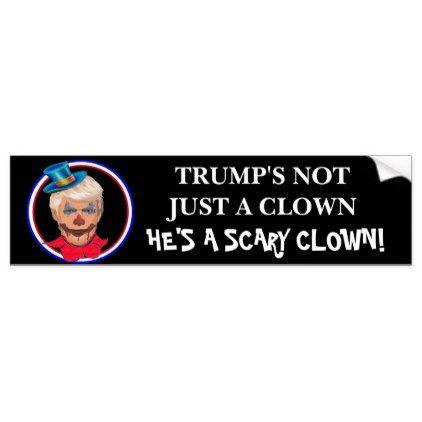 Anti donald trump scary clown bumper sticker craft supplies diy custom design supply special