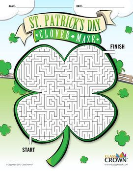 Gear up for St. Paddy's Day with this free maze in the shape of a clover for the…