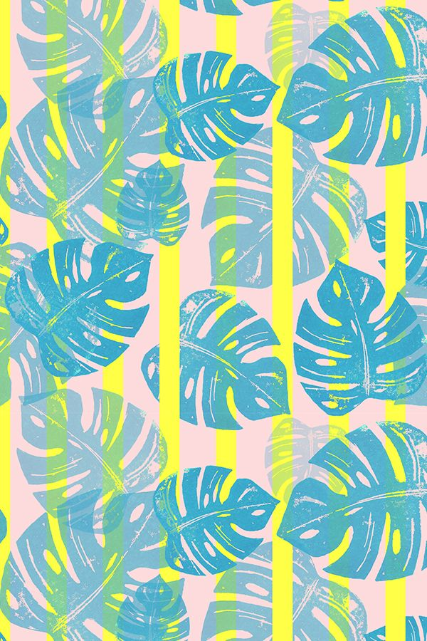 20b0cf75 Linocut Monstera Stripes POP by biancagreen - Neon stripes with turquoise  palm leaves on a pink background. Colorful linocut styple design on fabric,  ...