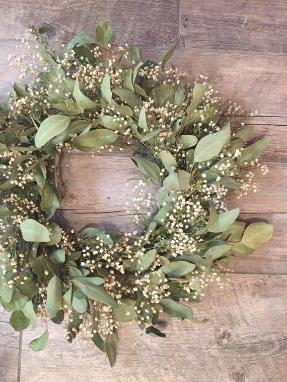 Photo of Dried wreath, Farmhouse decor, babies breath and eucalyptus, simplistic wreath, greenery wreath