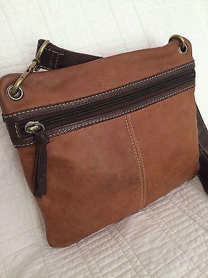 Fossil Vintage Sasha Embossed Leather Messenger Crossbody Bag Purse