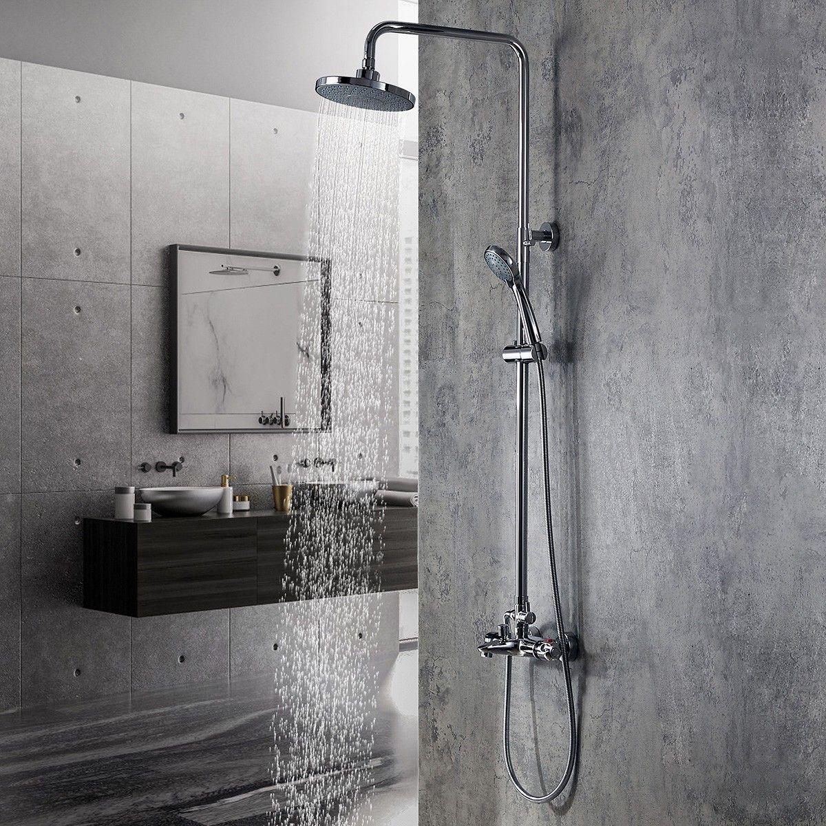 Modern Polished Chrome Exposed Thermostatic Rain Shower System With Handheld Shower Tub Spout Solid Brass Shower Systems Rain Shower System Shower Tub