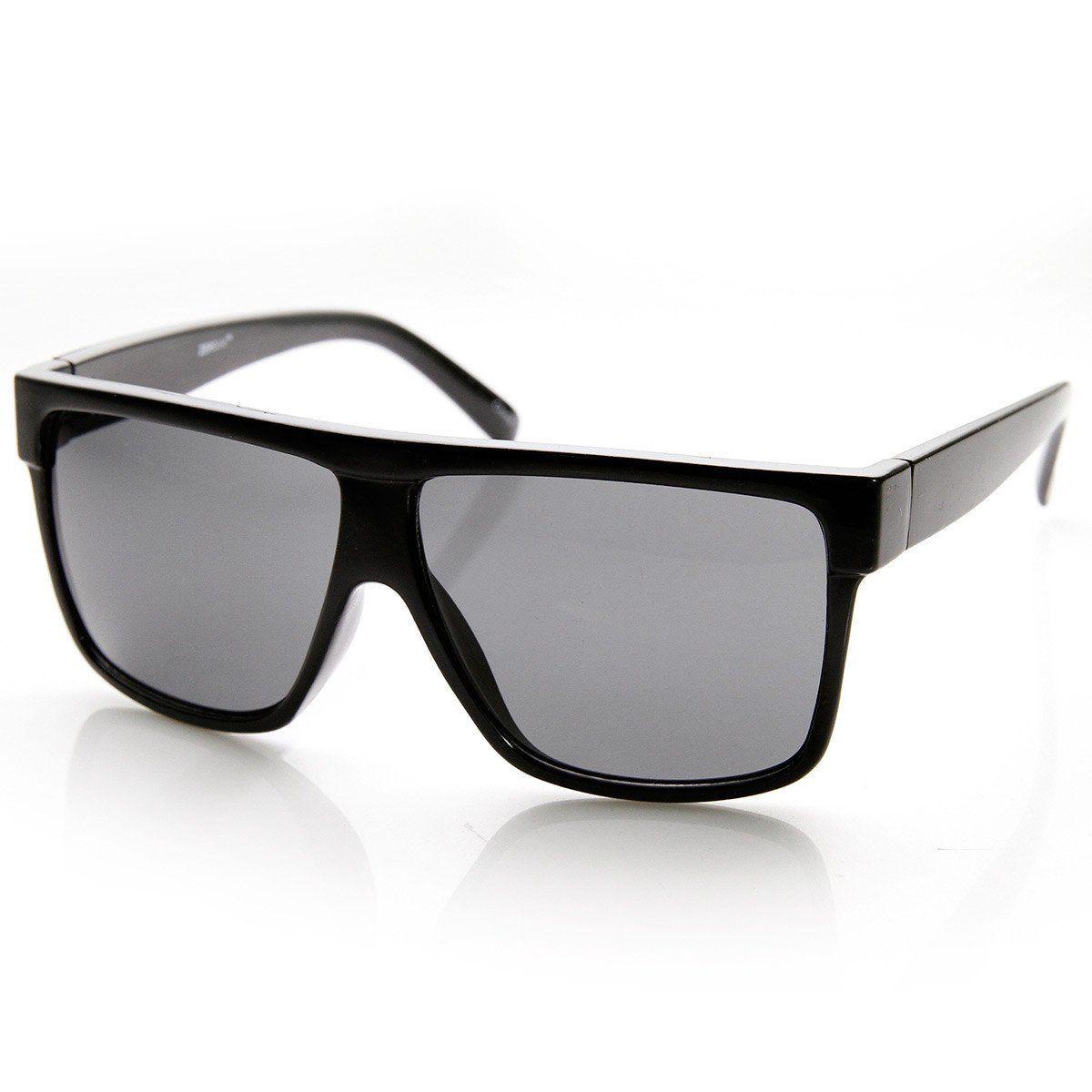 3c577d35b Designer Inspired Large Flat Top Square Plastic Aviator Sunglasses ...