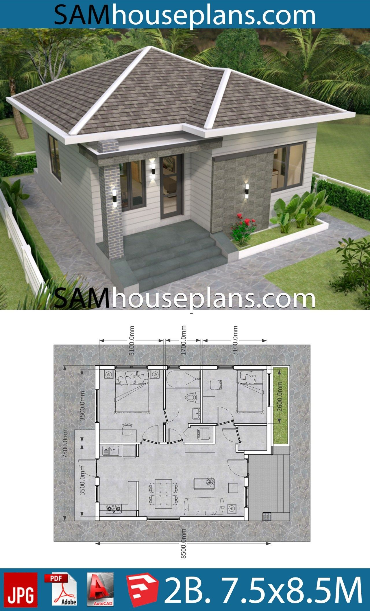 House Plans 7 5x8 5m With 2 Bedrooms Sam House Plans Bungalow House Plans Simple House Plans Small House Design Plans