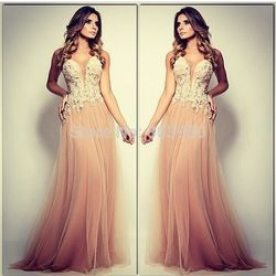 Online Shop Sexy Sheer Deep V Neck Champagne Tulle A Line Long Prom Evening Dresses 2014 Vestidos De Fiesta|Aliexpress Mobile