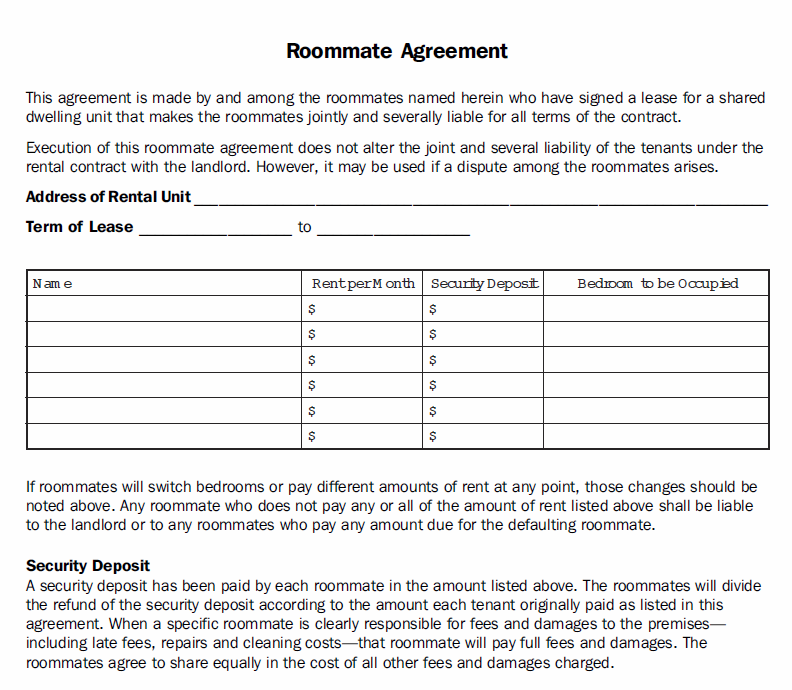 Printable sample roommate agreement template form real for Roommate agreement template free