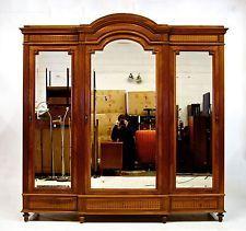 Antique French Wardrobe Armoire Large Triple Oak Mirrored Birdseye Maple