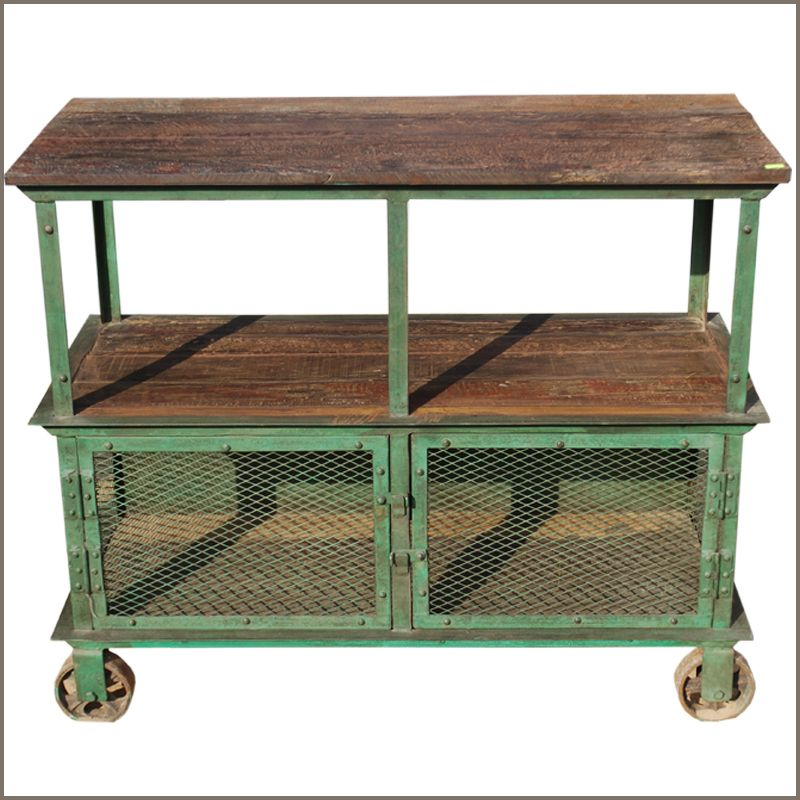 reclaimed wood console iron metal 3 tier industrial factory rolling wheel cart