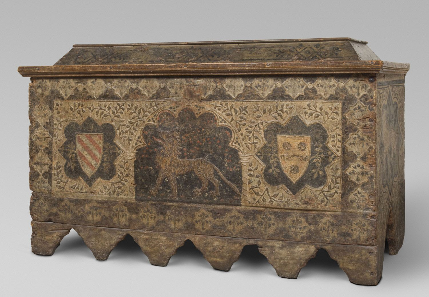 Chest Cassone Artist/maker unknown, Italian Geography: Possibly made in northern Italy, Italy, Europe Date: 1450-1490 Medium: Poplar and plaster reliefs with painted decoration Dimensions: 39 x 63 x 24 7/16 inches (99.1 x 160 x 62.1 cm)