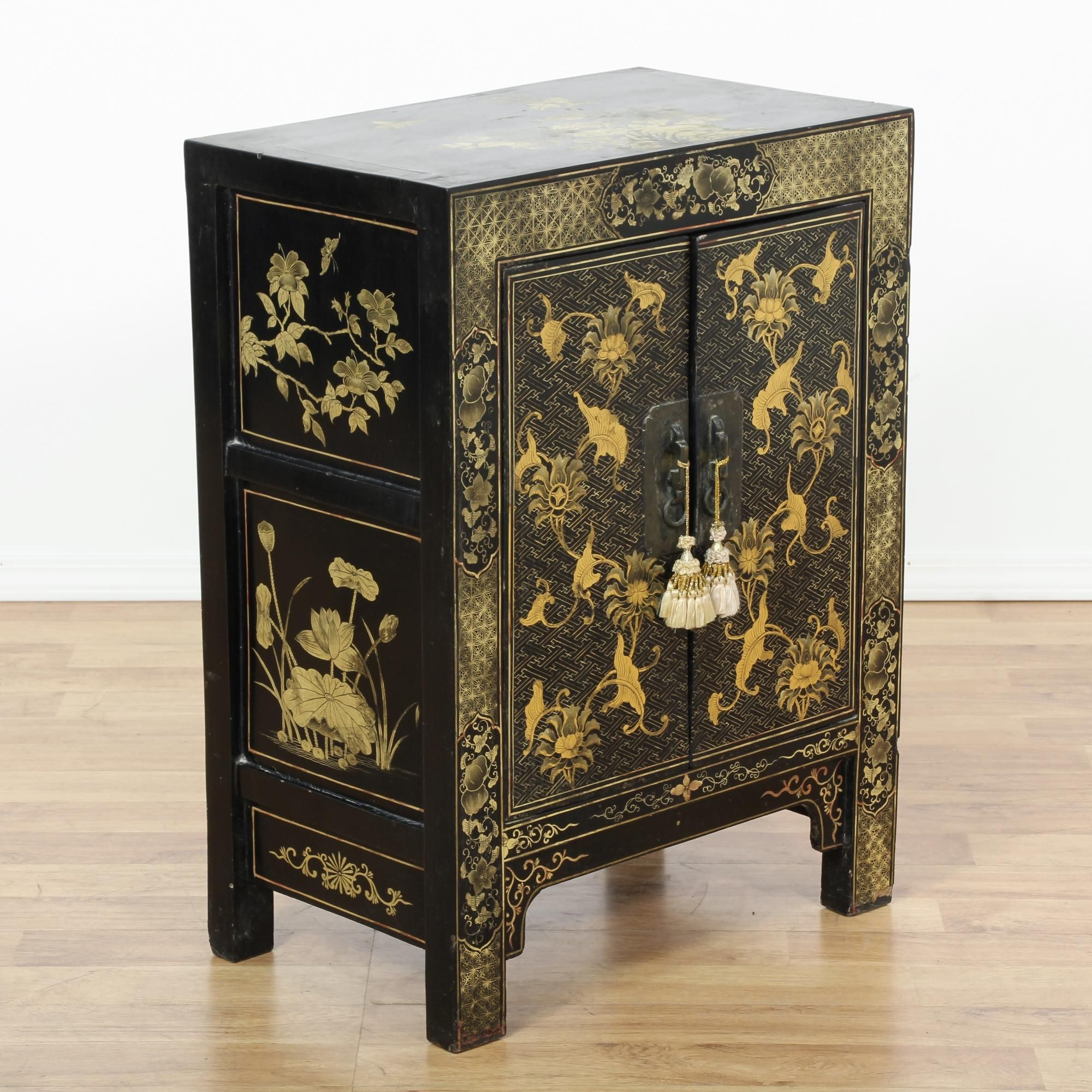 chinese black lacquered ornate floral cabinet  chinese cabinet  - chinese black lacquered ornate floral cabinet