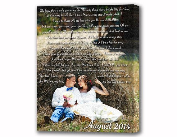 Custom Canvas Print. Wedding Photo with First Dance Lyrics. Personalized photo with  Vows, poem, Love Story. Anniversary canvas.