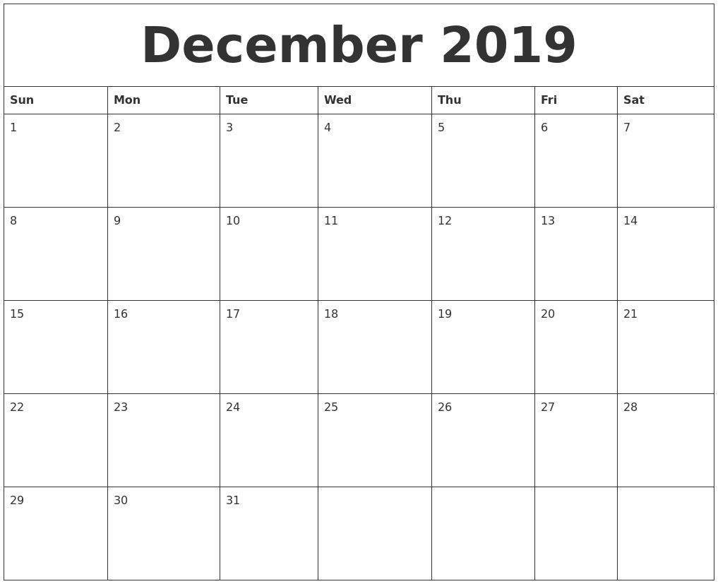December 2019 Blank Monthly Calendar Template Free Blank