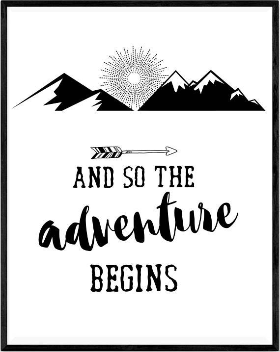 and so the adventure begins travel quote dorm wall art. Black Bedroom Furniture Sets. Home Design Ideas