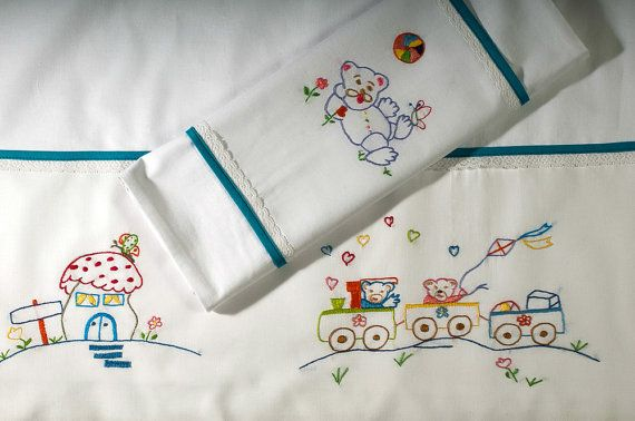 Baby Vintage Pillowcase Vintage Nursery Vintage Nursery Pillow Vintage Embroidered Baby Pillowcase Embroidered Baby Bedding Linen