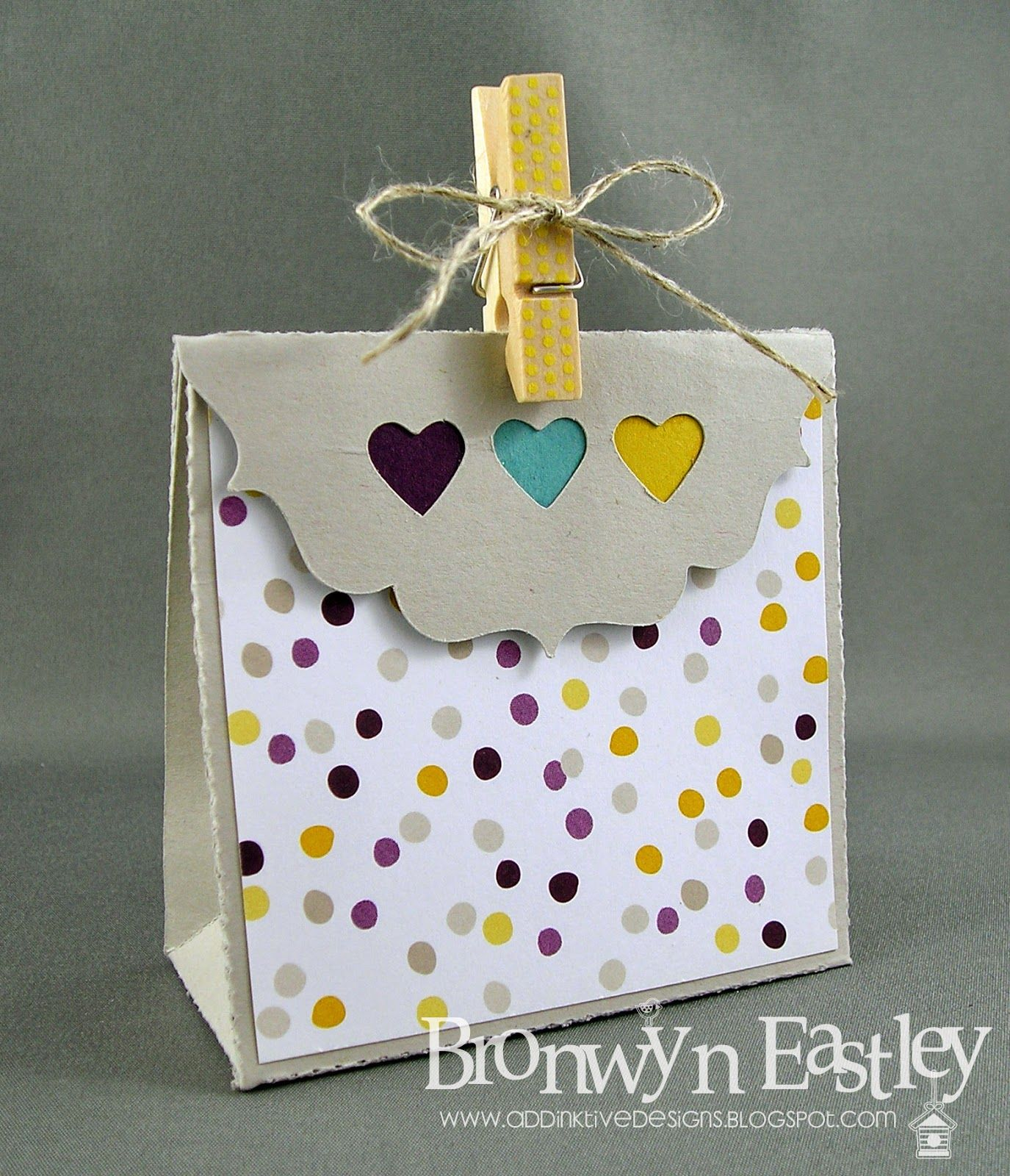 """Tuesday, June 17, 2014 addINKtive designs: Cool Like That 4.5"""" Gift Bag Moonlight dsp, Hearts Border punch"""