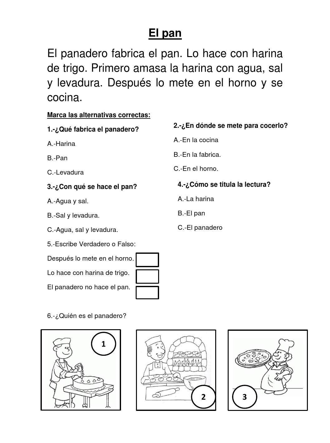 EL PAN:COMPRENSION LECTORA PARA EL SEGUNDO GRADO DE PRIMARIA | Comprensión  lectora, Lectura de comprensión, Lecturas cortas de comprension