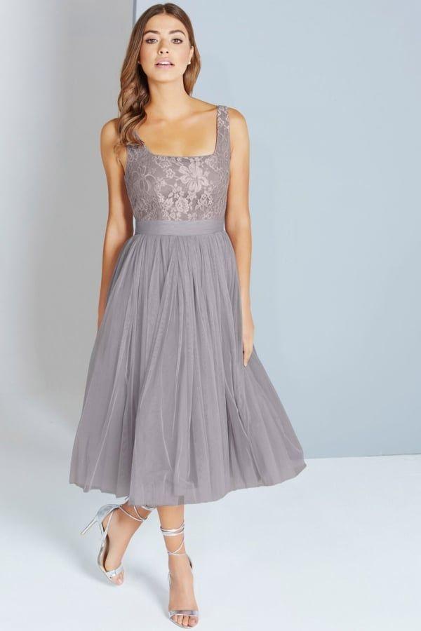 d7c0c8bb0f4 Little Mistress Grey Lace and Mesh Midi Dress