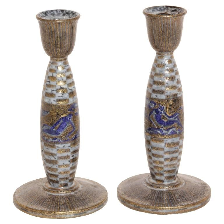Jean Mayodon French Art Deco Pair of Ceramic Candlesticks | From a unique collection of antique and modern candle holders at https://www.1stdibs.com/furniture/decorative-objects/candle-holders/