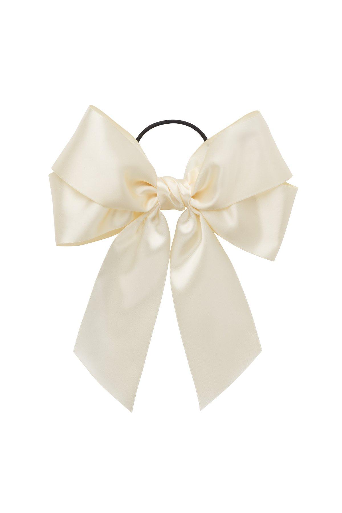Ivory Satin Lace Bow Hair Clip