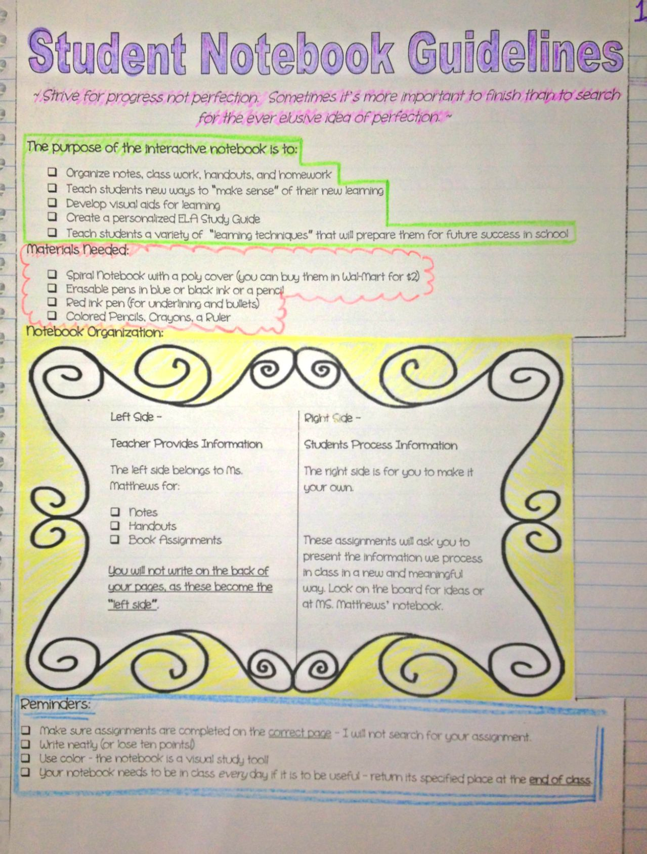 Interactive Student Notebook Guidelines Handout