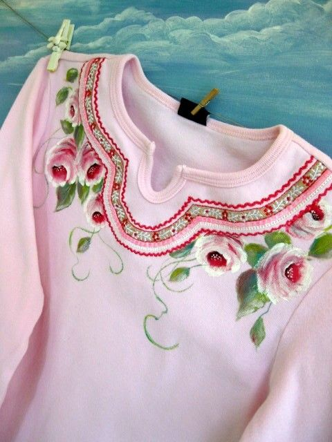 Girls Shirt Painted Roses Upscaled in size 7 to 8 of by enfantjoli, $28.85