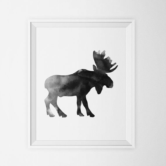 Modern Nursery Print - Watercolor Moose Art Print in Ink Put some woodland animal art on your wall tonight with this instant download file. Save money by printing at home or at your local print shop. Decorate a nursery, office, bedroom, playroom, or a kitchen with this printable