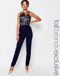 Little Mistress Tall Scallop Lace Tailored Jumpsuit With Floral Embroidery - Blue