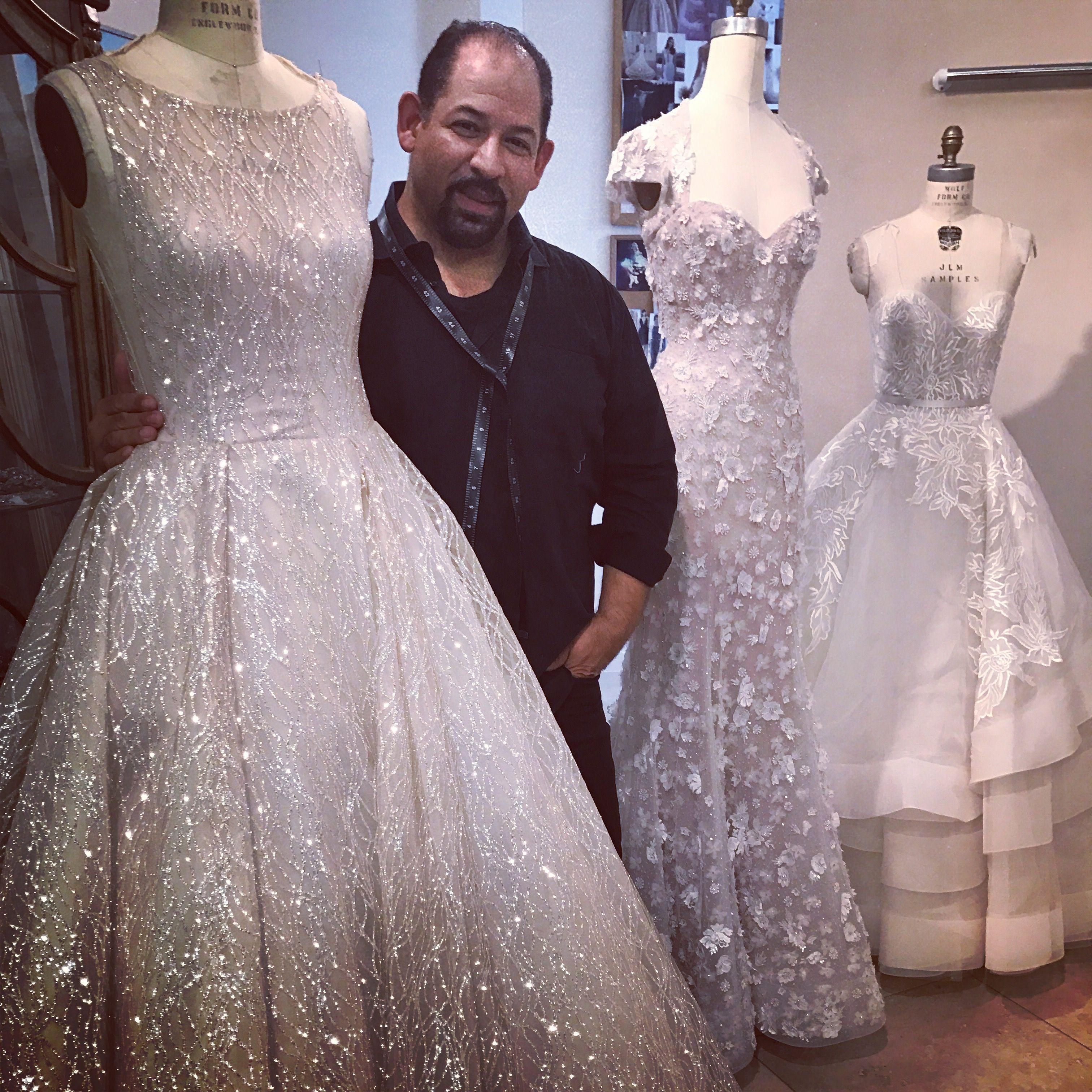 Designer Lazaro Perez Amongst His Bridal Creations Wedding
