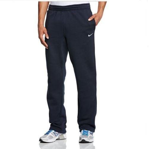 Nike Mens L Club Swoosh Soft Fleece Open Hem Black Sweatpants 717307-010