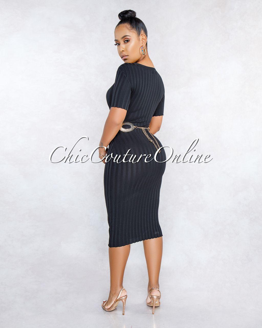 d70019d87a797 Mandriana Black Short Sleeves Ribbed Midi Dress in 2019 | Clothing ...