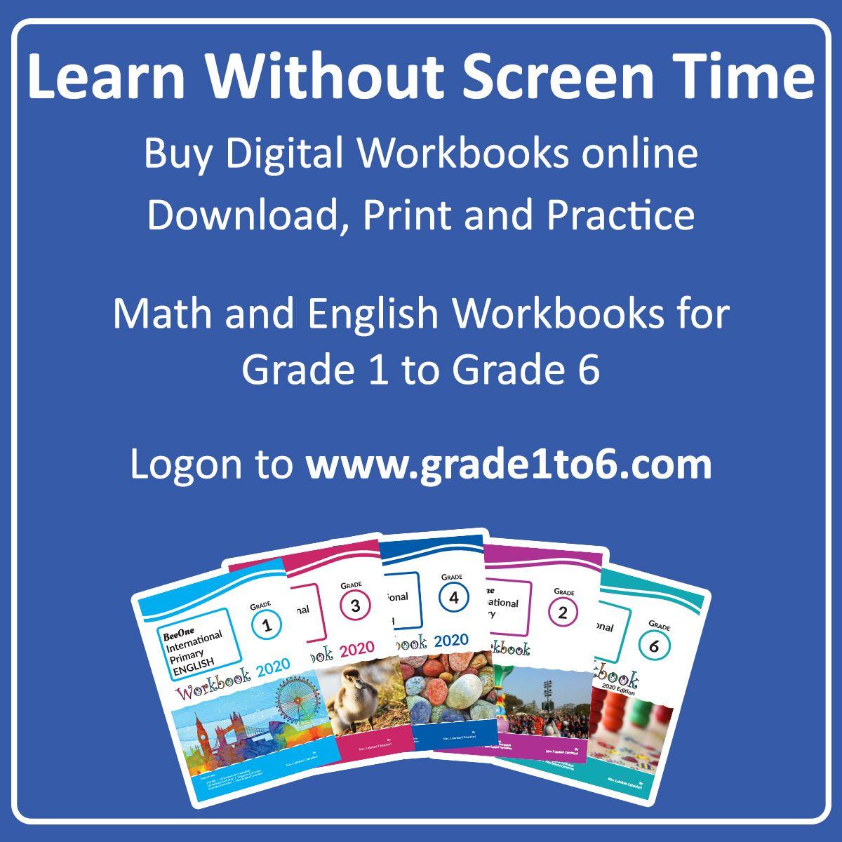Math English Digital Workbooks For Grade 1 To Grade 6 Workbook Math Math Printables [ 1200 x 1200 Pixel ]