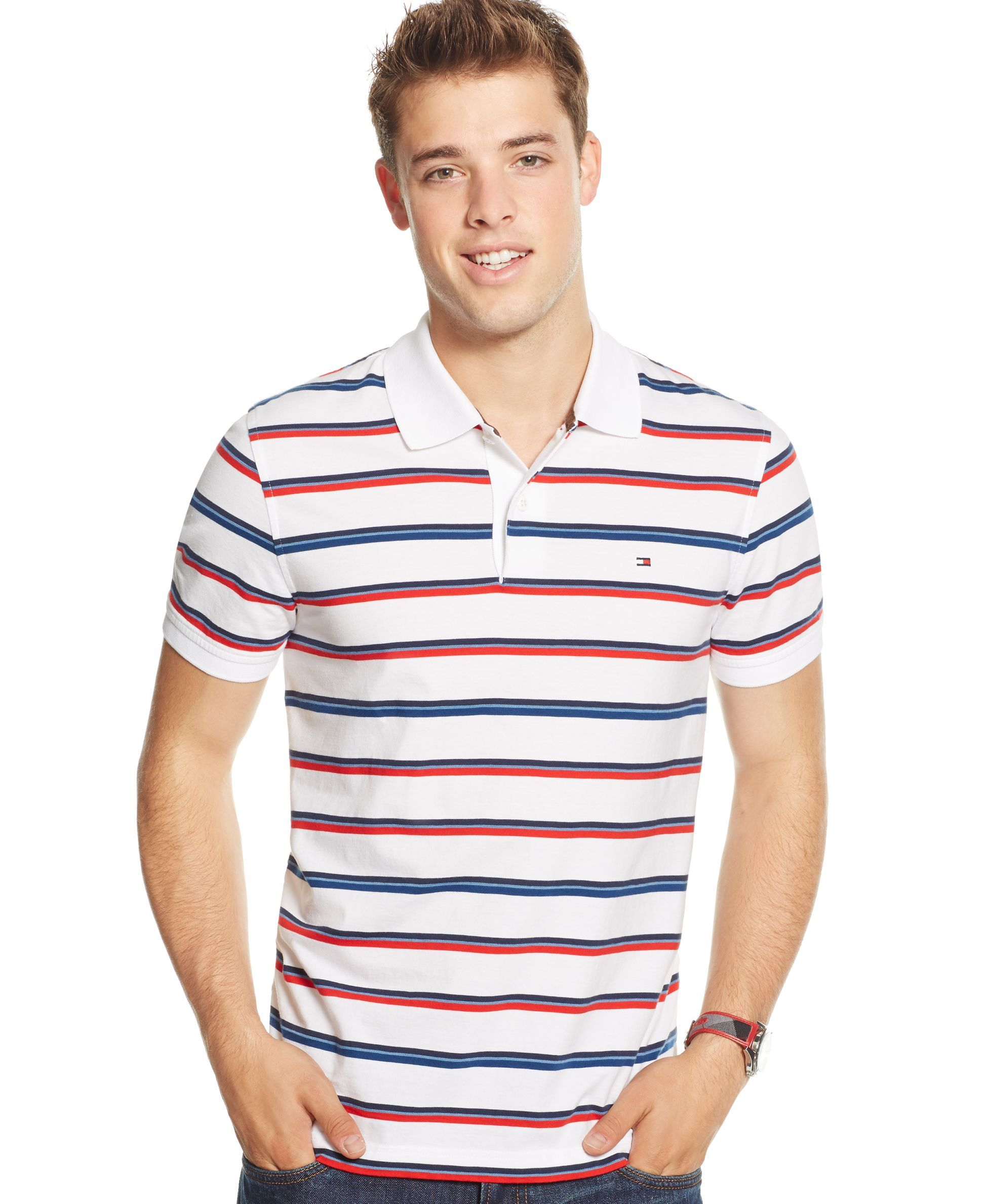 a511c8f6 Tommy Hilfiger Striped Polo Shirt | stripers in 2019 | Striped polo ...