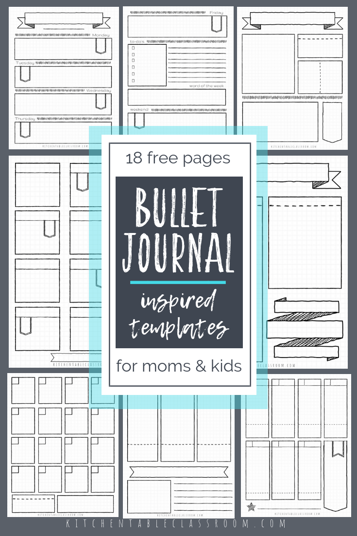 Bullet Journal Printables-17 Free Bullet Journal Templates - The Kitchen Table Classroom